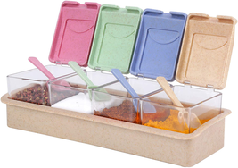 Clear Seasoning Box And Container With Cover And Spoon, Four Compartment... - £9.16 GBP