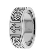 MENS 14K SOLID GOLD CHRISTIAN CELTIC WEDDING BANDS RINGS MANS WHITE GOLD... - $704.49