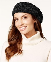Charter Club Velvet Solid Chenille Beret Black One Size Winter Hat -$29.... - $9.99