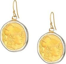 Kenneth Jay Lane Women's Rhodium/Satin Gold Coin Fishhook Earrings Silve... - $55.08