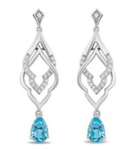 Enchanted Disney Sterling Silver 1/10cttw Diamond & Blue Topaz Jasmine Earrings - $129.99