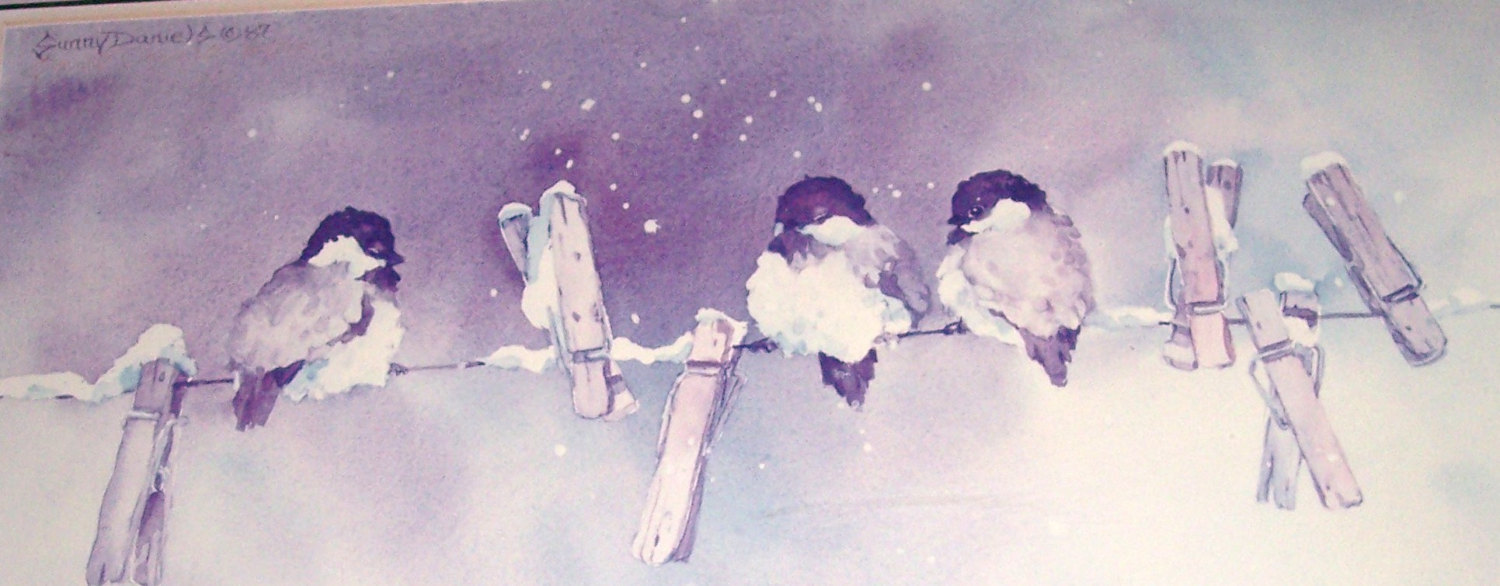 "1987 Rare Sunny Daniels "" Three Chickadees Painting"" Original Watercolor Print #"