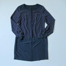 Ann Taylor L/S Shift in Blue Pink Geo Geometric Button Down Shirt Dress 4 - $28.99