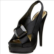 Steven By Steve Madden Rockz women's black satin sandals shoes size 7.5 - $17.78