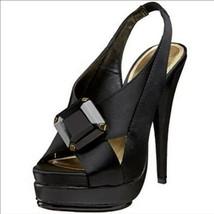 Steven By Steve Madden Rockz women's black satin sandals shoes size 7.5 - $17.78