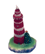 Red Striped with Christmas Tree-LED Light House Ornament-By Kurt Adler-H... - $16.27