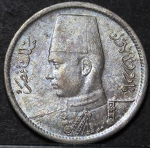 Egypt 2 Piastres, AH-1361 (1942) Gem Unc Silver~Free Shipping - $20.48