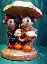 Disney Rainy Day Mickey & Minnie Resin Statue Rare Hard To Find In Origi... - $70.08