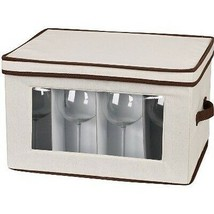 Wine Glass Storage Chest Stemware Glasses Organizer Carrier Holder Kitch... - $40.04