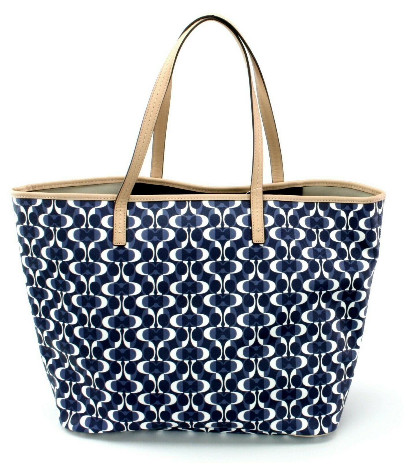 Coach Monogrammed Shopper Tote Bag PVC Large Handbag Navy & Tan RRP £330