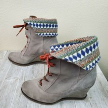 Anthropologie Holding Horses Gray Suede Textile Wedge Winter Boots Size 37 US 7 - $29.69