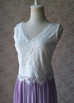 White Lace V Neck Top Sleeveless Lace Top Bridesmaid Separate Lace Top Plus Size image 1