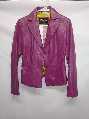 ROGUE 100% LEATHER WOMENS JACKET PINK 2 BUTTONS SZ XS REILLY OLMES EUC RN 102271