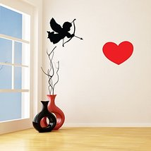 (94'' x 47'') Cupid Silhouette and Heart Vinyl Wall Decal / Romantic Print Art D - $106.70