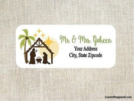 Christmas Holiday Nativity Manger Return Address Labels Personalized - $4.95