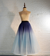 Women Frozen Blue Tulle Skirt Outfit Multi-Color Plus Size Wedding Party Skirt image 6