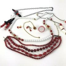Red theme Costume Jewelry Lot Boho MOD Metal Vtg Retro Rockabilly Plasti... - $16.82