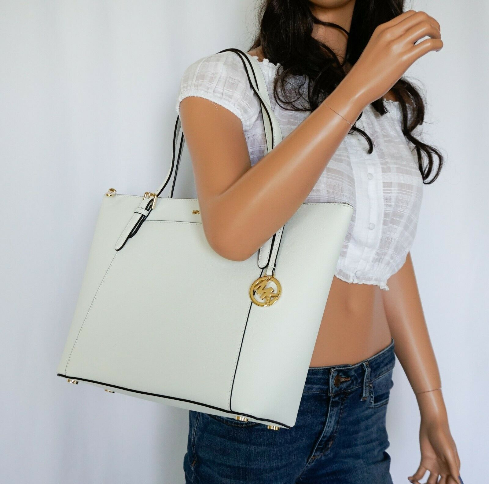 4de54e2245a7 NWT MICHAEL KORS CIARA LARGE EAST WEST TOP ZIP SAFFIANO LEATHER TOTE OPTIC  WHITE