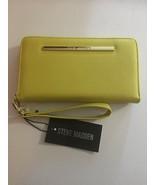 STEVE MADDEN WALLET Citron Soft Textured Gold Zip Around Wrist-let Ships... - $37.99