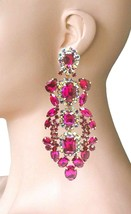 "5.25"" Long Oversized Fuchsia Pink Rhinestone Clip On Earrings Drag Queen Pageant - $31.30"