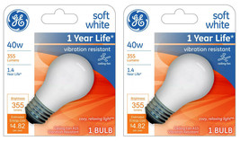 Lot of 2 GE 99461 A15 Incandescent A-Line Ceiling Fan Bulb Soft White 355 Lumens