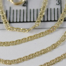 18K YELLOW GOLD CHAIN MINI OVAL FLAT WORKED MESH 1.5 MM, 15.75 IN. MADE IN ITALY image 2