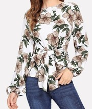 Floral Print Knot Detail Blouse Boat Neck Bishop Sleeve Weekend Casual Top - $43.99