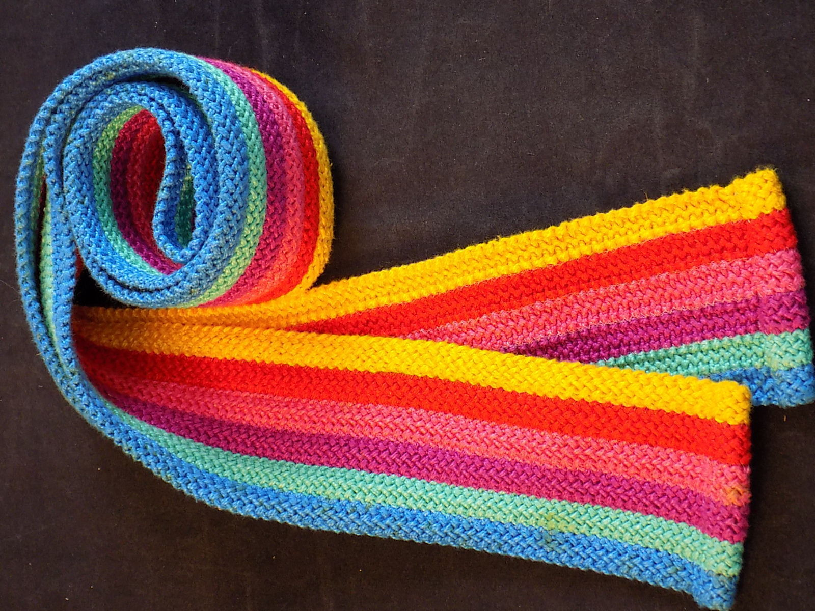 """WOMEN""""S FABRIC BELT 2.5"""" wd x 50"""" lng  Striped with Blue Purple Red and Yellow"""