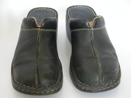Womens Born Black Leather Upper Slip On Clogs Size 10 M/W (EU 42) - $24.99