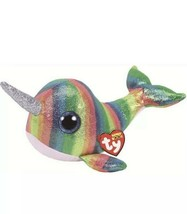 """TY Beanie Boos 36418 Nori Narwal Multi Color 8.5"""" New with Tags - $15.14"""