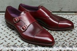 Handmade Men's Burgundy Leather Double Monk Strap Shoes image 3