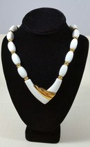 Signed Vintage Napier White Acrylic and Gold Tone 26 Inch Statement Necklace - $119.99