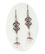 Gorgeous new pink rose Swarovski element crystal pearl butterfly dangle ... - $19.00