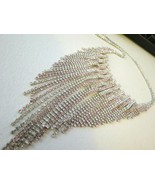 VTG Pink Waterfall Rhinestone Necklace Silver Links Bib Fringe Dangle ST... - $69.29
