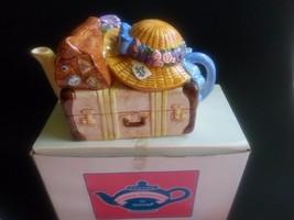Schmid Teatime Harmonies TEAPOT/MUSIC BOX-1995 Bon VOYAGE-BETSY HAZELTON-WORKS - $25.00