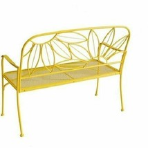 Hello Sunny Metal Yellow Outdoor Patio Bench Loveseat Backyard Garden Furniture image 2