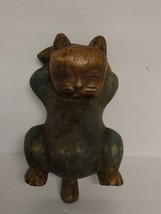 """Vintage Carved Wood Cat Statue Relaxing on Back Thailand 8"""" Long 1 Lb Rare  - $42.54"""