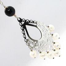 Necklace Silver 925, Onyx Black, White Pearls, Pendant Floral image 5