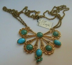 Signed Sequin Gold-tone & Teal Blue CAB Statement Pendant Necklace  - $44.55