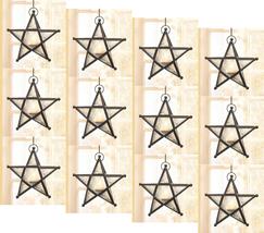 Twelve (12) wrought iron frame white glass hanging star candleholder lan... - $83.00