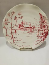 Holiday Toile Designed by Maxcera Plate~ Ruffle Edge Church Trees 10 1/2... - $17.77