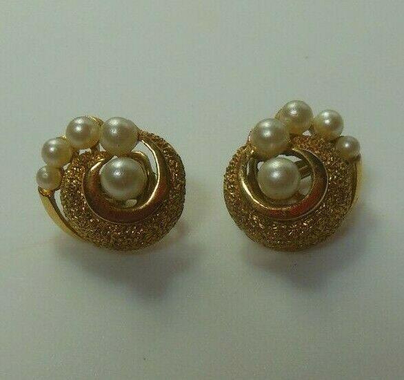 Vintage Crown Trifari Textured Gold-tone Pearl Swirl Clip-on Earrings