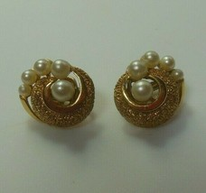 Vintage Crown Trifari Textured Gold-tone Pearl Swirl Clip-on Earrings  - $54.45