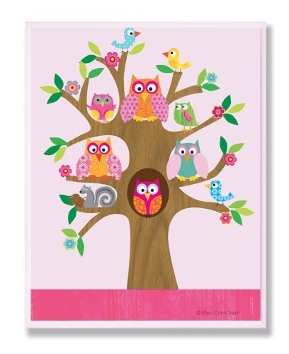 The Kids Room by Stupell Owls, Birds, and Squirrel in A Tree Rectangle Wall Plaq
