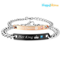 Her King His Queen Couple Bracelets Stainless Steel - Couples Bracelet C... - $19.95