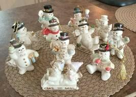 Eleven Lenox Snowmen Mixed Lot of Annual Christmas Ornaments & Figurines  - $125.00