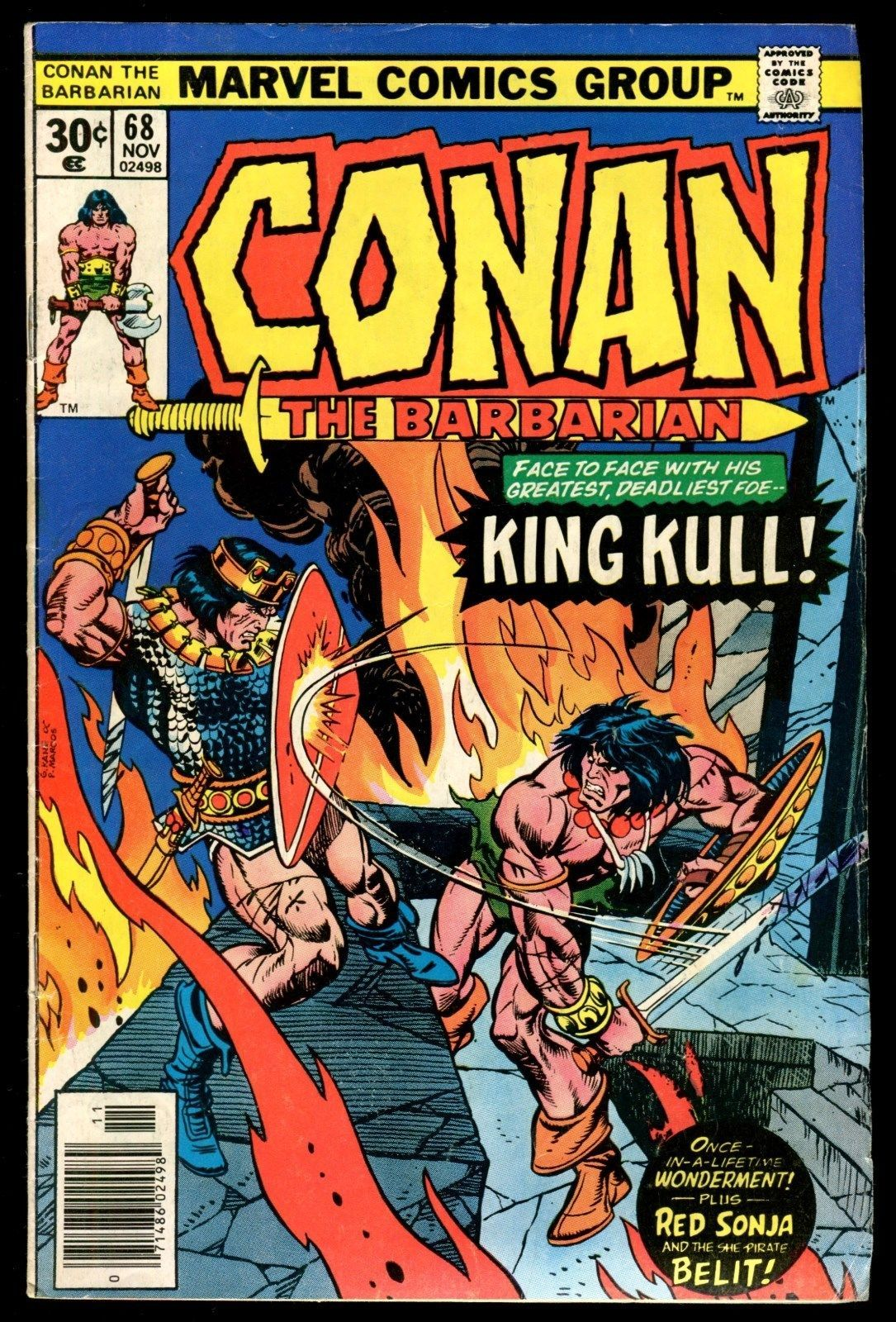 Marvel Feature 7 Red Sonja vs Conan the Barbarian 68 vs King Kull Comic Set Lot