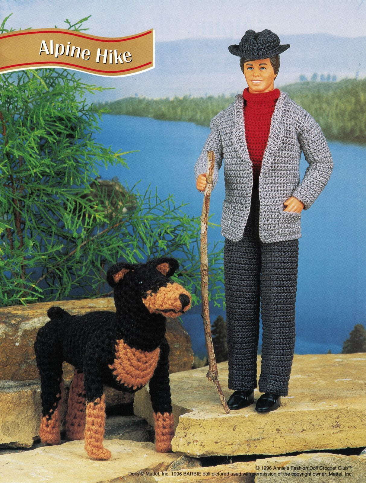 "Primary image for 4X 12"" Ken Barbie Doll Pumping Iron London& Alpine Hike Crochet PATTERN"