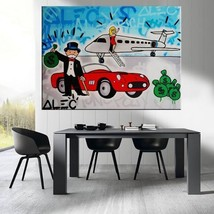 "Alec Monopoly Banksy Print on Canvas street art Skyline Airplane 12x16"" - $19.30"