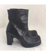 Nine West Black Leather Ankle Boots Shoes 7 EU 37.5 Block Heel Square Toe Brazil - $29.05